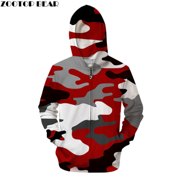 e78eeb06968e8 Red camo 3D Zip Hoodies Men Hoody Women Sweatshirt Zipper Tracksuit Hooded  Coat Streatwear Hoodie Pullover Hip Hop ZOOTOP BEAR