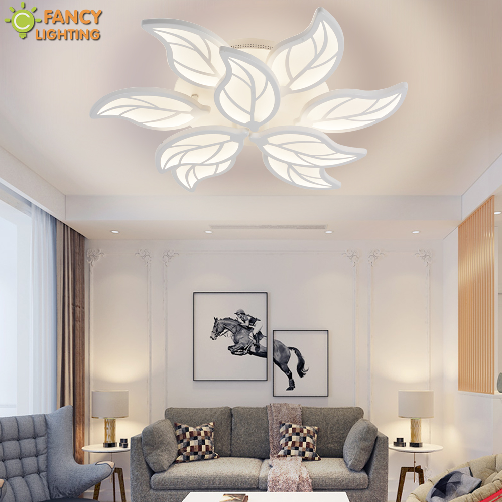 Nordic Led chandelier light Warm Nature Cool White Leaf Lampara de techo For Bedroom Living Room