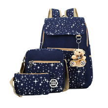 купить 6 Colors Backpacks Brand 3 pieces Sets Women Backpack Star Printing Canvas School Bags for Teenager Girls Shoulder Bag bookbags дешево
