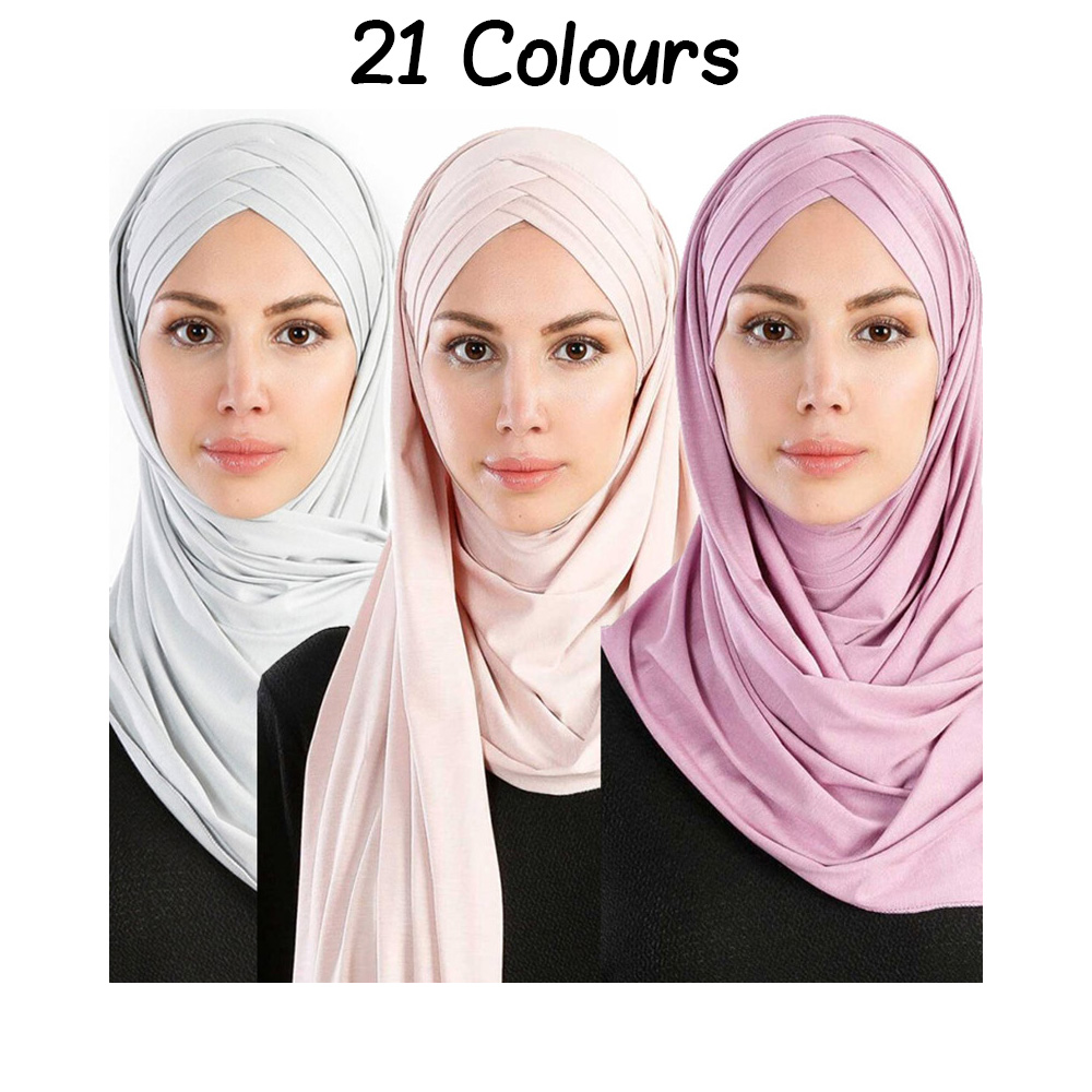 21 Colours Women Muslim Solid Jersey   Scarf   Long Headscarf Cover-up Hat   Wrap   Modesty Turban Cap Instant Underscarf Ready to wear