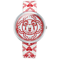 Children Boy Girl Genuine Leather Watches Red Cartoon Clocks Disney Mickey Mouse Head Waterproof Quartz Original