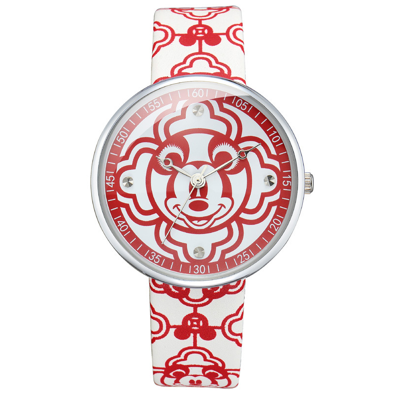 children boy girl Genuine leather watches red cartoon clocks Disney Mickey Mouse head waterproof quartz original box red clocks page 2
