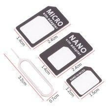 3 шт./лот 4 в 1 Nano Micro Sim карта адаптер конвертер набор с Pin для iPhone samsung белый