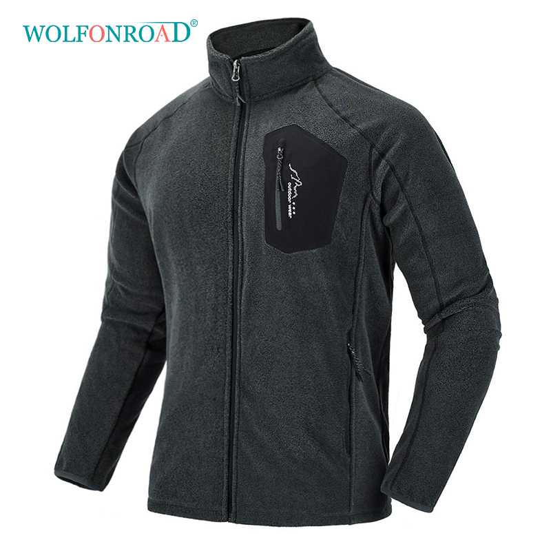 WOLFONROAD New Outdoor Fleece Jacket Men Thermal Winter Windbreaker Hiking Camping Sport Jacket Coat Windproof Mountain Clothes