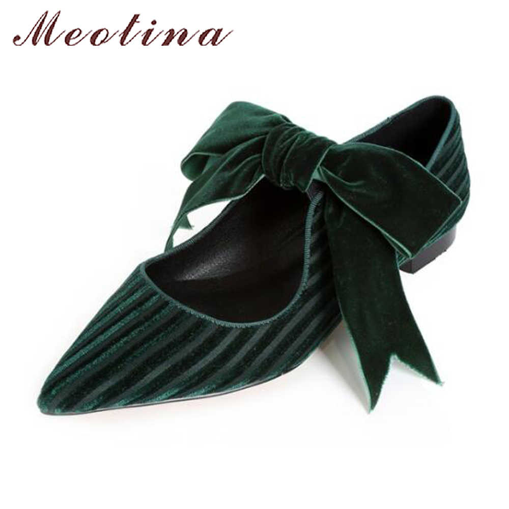 9d655972eadb Meotina 2018 Velvet Shoes Women Ballet Flats Bow-knot Mary Jane Shoes  Spring Pointed Toe