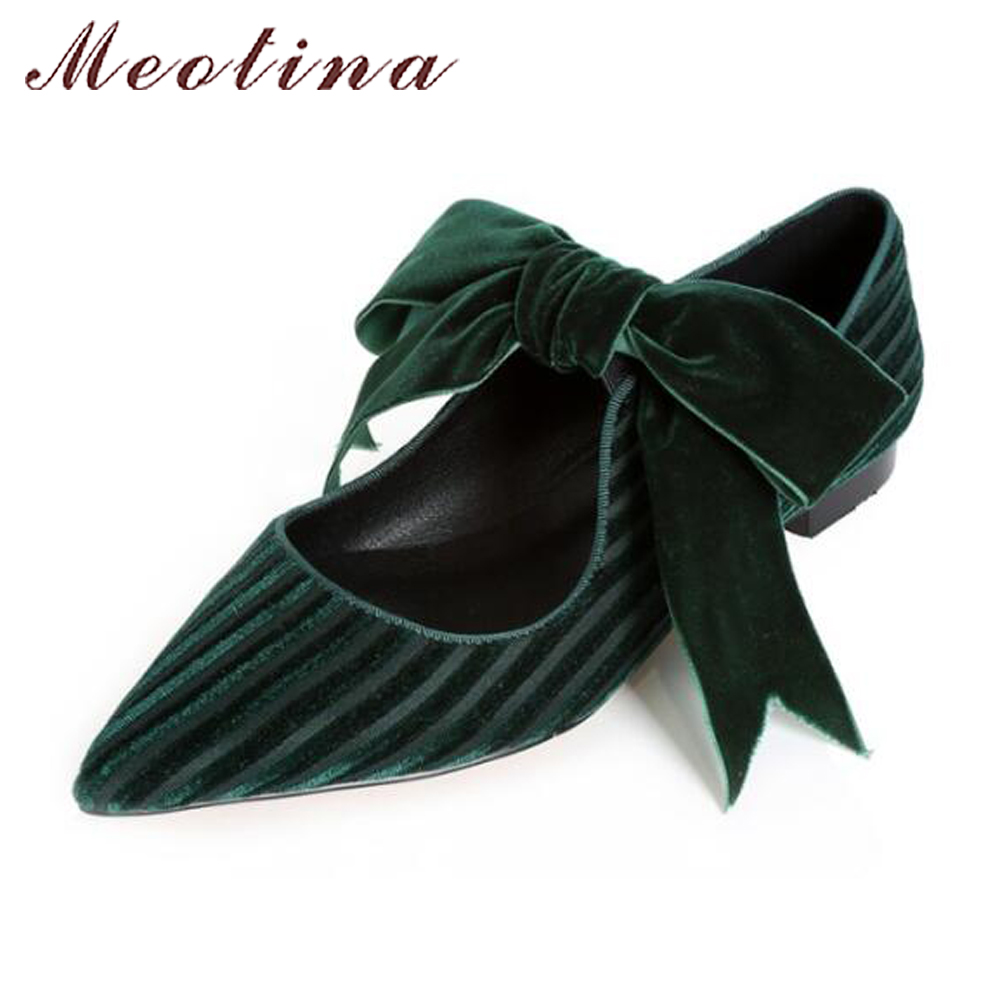Meotina 2018 Velvet Shoes Women Ballet Flats Bow-knot Mary Jane Shoes Spring Pointed Toe Ladies Shoes Flats Footwear Black Green meotina gladiator shoes 2018 women shoes