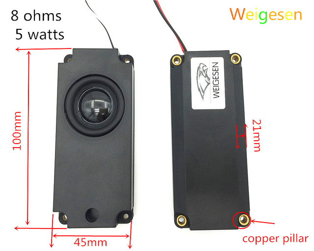2PCS 8ohm 5W One machine LCD TV speakers advertising machine massage chair speakers 100*45MM