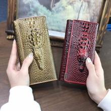 Фотография AOEO Women Wallet Female Dollar Money Coin Purses Holder Genuine Leather 3D Alligator Fashion Crocodile Long Clutch Wallets