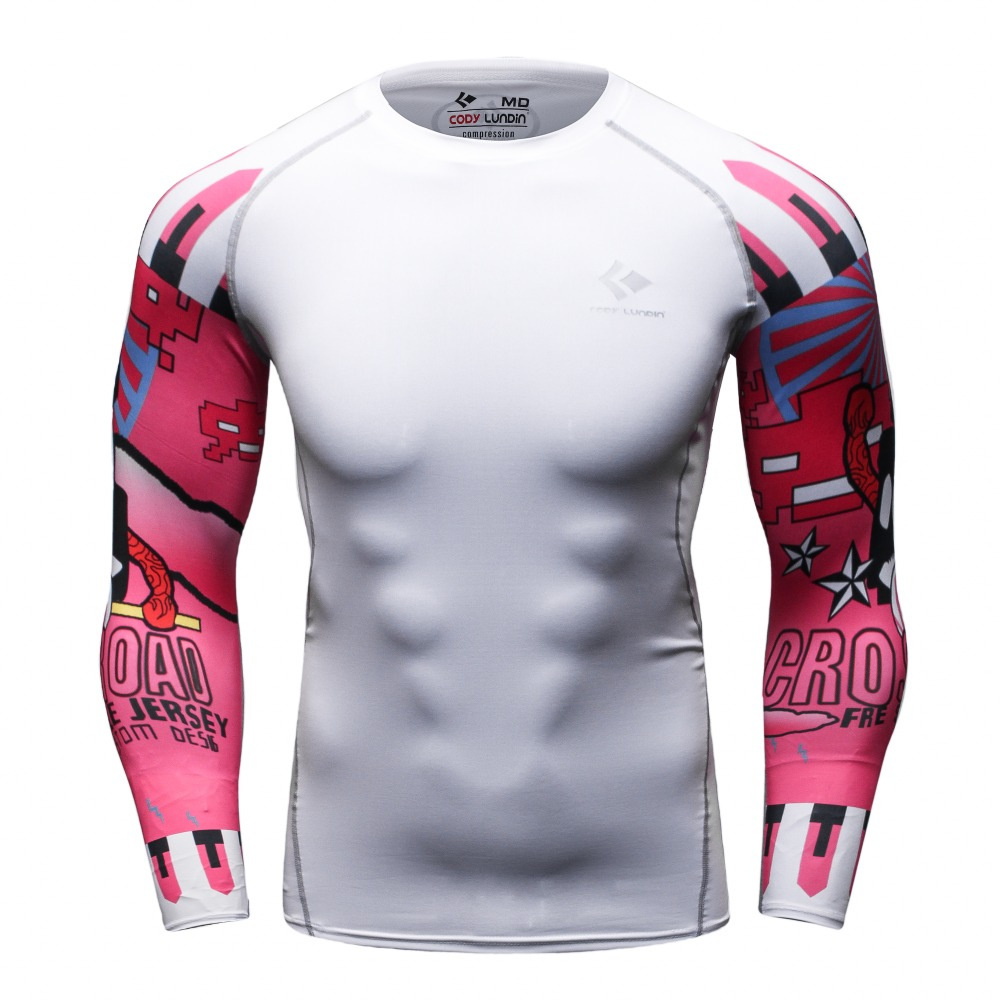 2016Long Sleeve Skin Rash Guard Complete Graphic Compression Shirts Multi-use Fitness MMA Tops Shirts