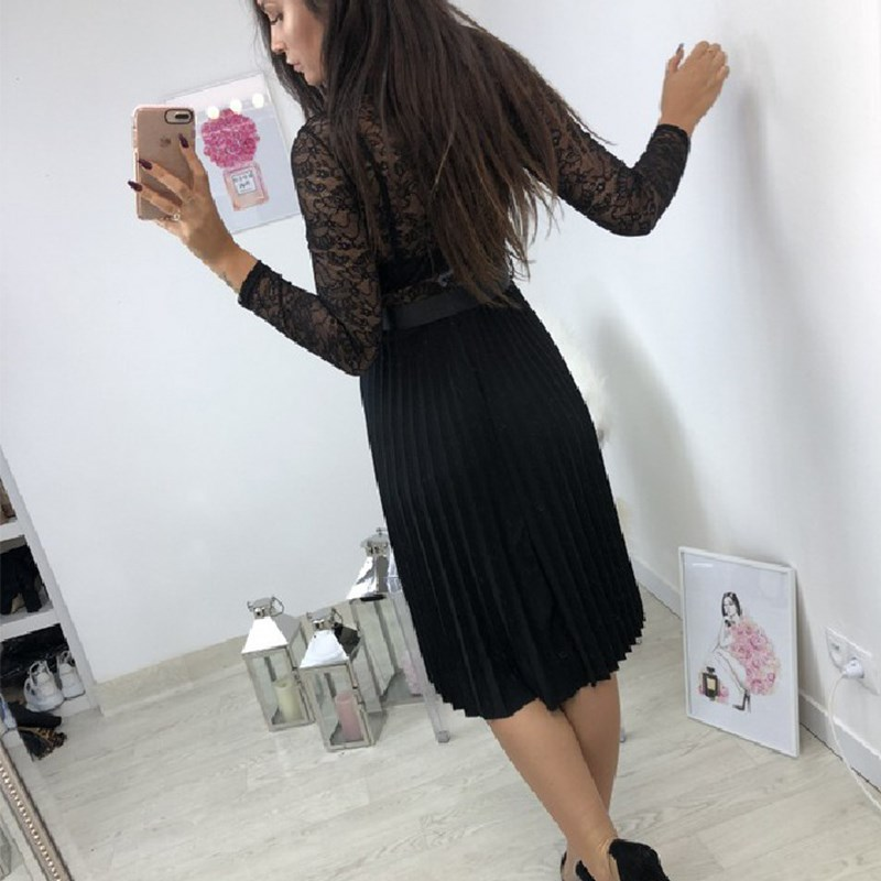 BEFORW Sexy VNeck Women Lace Dress Casual Party Pleated Chiffon Dresses 2019 Elegant Fresh Black Ribbon Hollow Chiffon Midi Dres 2