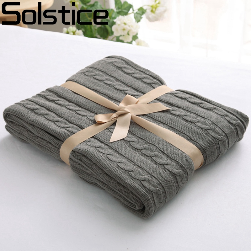 2017 New Arrival Cotton Knitting Wool Blanket Sofa Plain Dyed Classic Knitted Thread Blanket/towel Blanket Adults Winter 180X200
