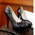 Sexy discoteca brillo estilo de lentejuelas moda cómodo dedo del pie redondo talón rojo negro oro high heel women shoes tamaño 34 ~ 39CN