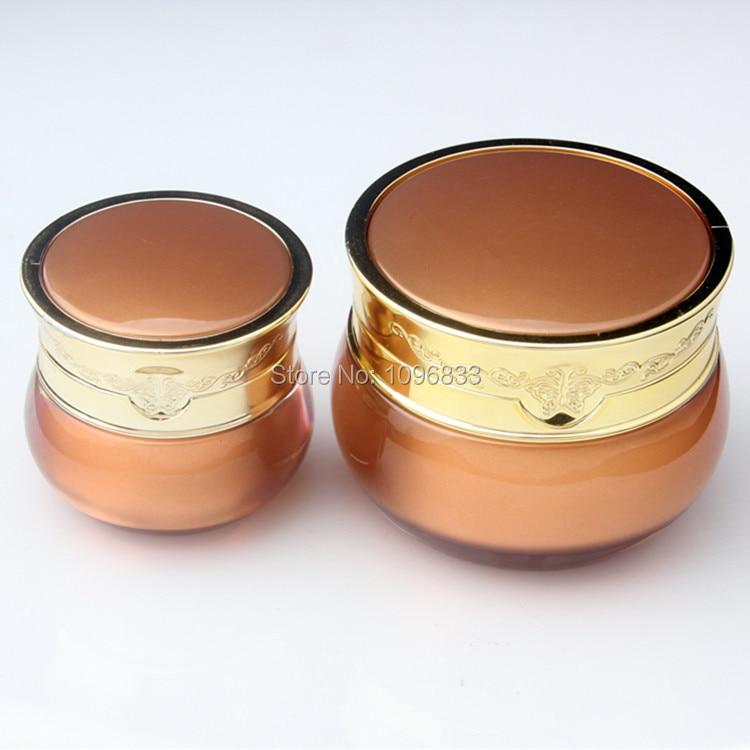 50ML Acrylic Jar Gold Color, Empty Cosmetic Packaging Jar, Cream Jars, 50g High Quality Crown Jar, 12pcs/Lot 12pcs 20g amber glass cream jars cosmetic packaging with lid black plastic caps