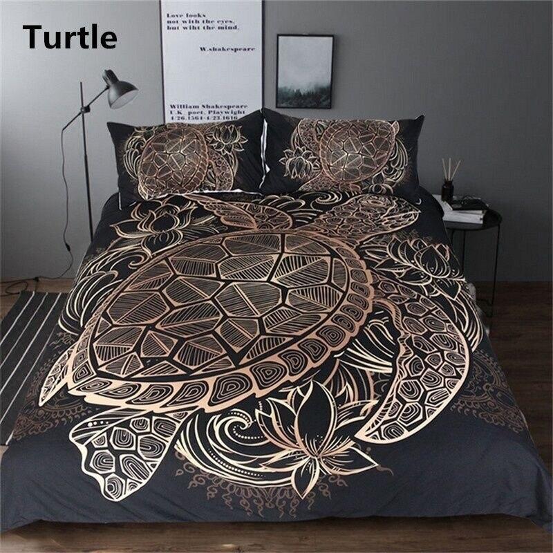 Turtles Bedding Set Duvet Animal Bohemian Black Golden Tortoise Duvet Cover King Sizes Flowers Lotus Home