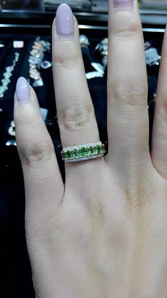Натуральный зеленый камень гранат кольцо природных драгоценных камней кольцо S925 серебро модный роскошный массив для женщин и девочек свад
