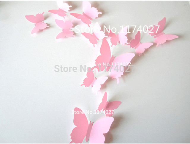 12pcs PVC 3d Butterfly Home decor solid pink color small europe cute Wall stickers Decoration Butterflies Decals