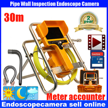 30m Pipe Sewer Drain Video Inspection  Camera 7 inches Monitor   90 degree snake type Borescope  meter counter DVR Camera