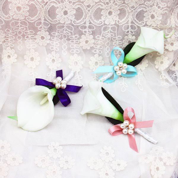 nuevo estilo hecho a mano de bricolaje calla lirio de flores ramillete novio traje padrino de
