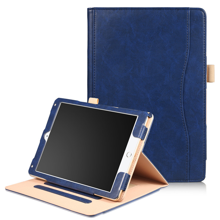 Blue Wallet case with hand loop, stand and leather style for iPad 9.7 (2017, 2018, A1893), Air 1,2