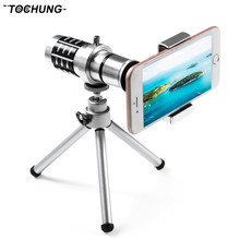 TOCHUNG high quality thermal HD 12x mobile phone camera lens, mobile phone monocular telescope sightseeing camera + tripod(China)