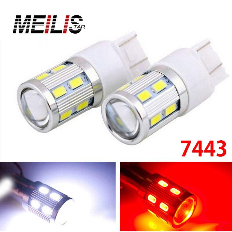 2x T20 7443 W21/5W 13 smd 5630 5730 LED Lens Projector Aluminum Case car Brake Lights motor daytime running light 12V red white футляр lowepro lens case 13 x 32cm