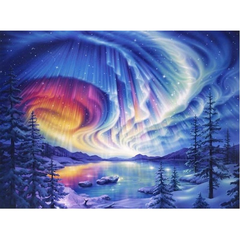 5D DIY Dream Clouds Diamond Painting Embroidery Mosaic Wall Decoration Landscape Winter Needlework Crafts