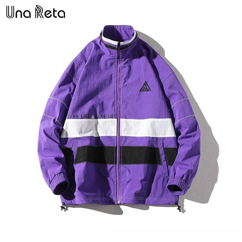 Una Reta Europa High street chaqueta para hombre de alta calidad 2018 otoño nuevo Color costura Hip Hop chaqueta abrigo para hombre-in Chaquetas from Ropa de hombre    1