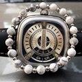 6mm Blanco Natural de la Turquesa Ston Granos Afortunados Pulsera para Las Mujeres, 4mm Perlas Pulseras de Acero de Titanio, alto Grado de La Joyería Para Hombre