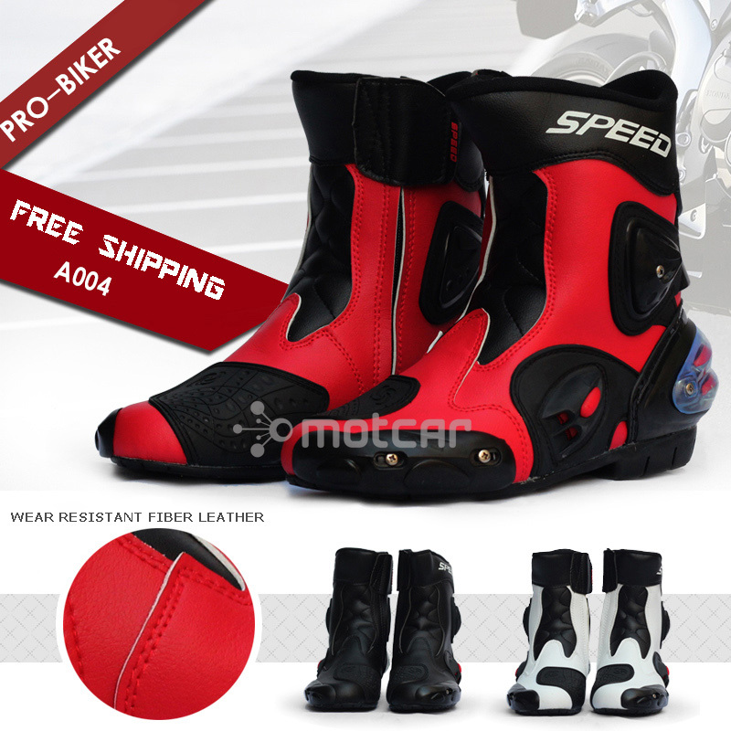 Motorcycle Boots Pro Biker SPEED Moto Racing Motocross Motorbike Shoes Protective Gear Motorcycle Boots A004 Out Doorsport Shoes мотоботы pro biker pro biker speed