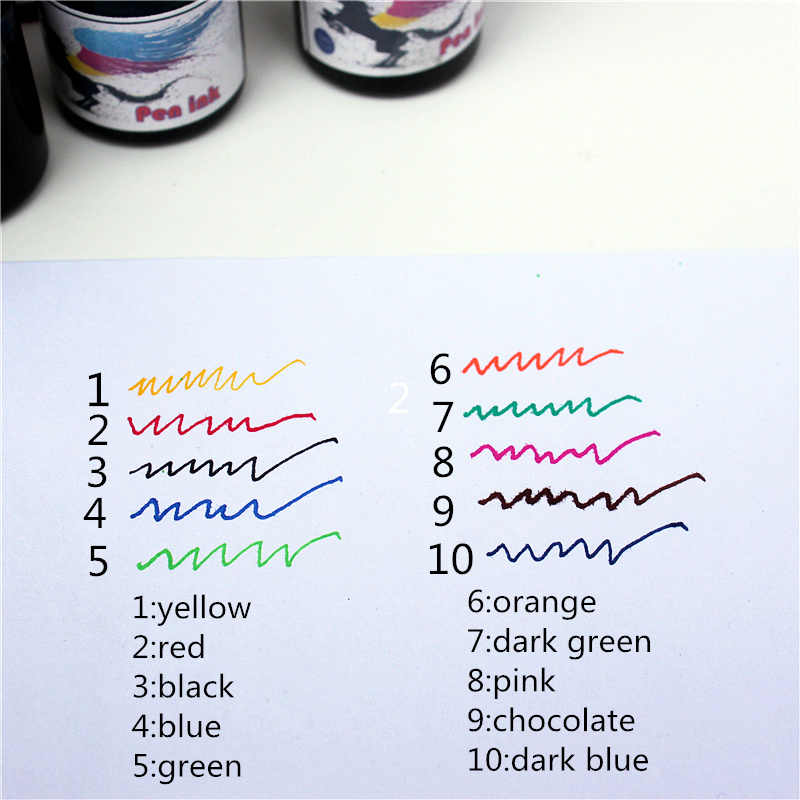 ปากกาน้ำพุหมึก 15ML 10 สีปากกาแบบพกพาหมึกคุณภาพไม่เจ็บปากกา