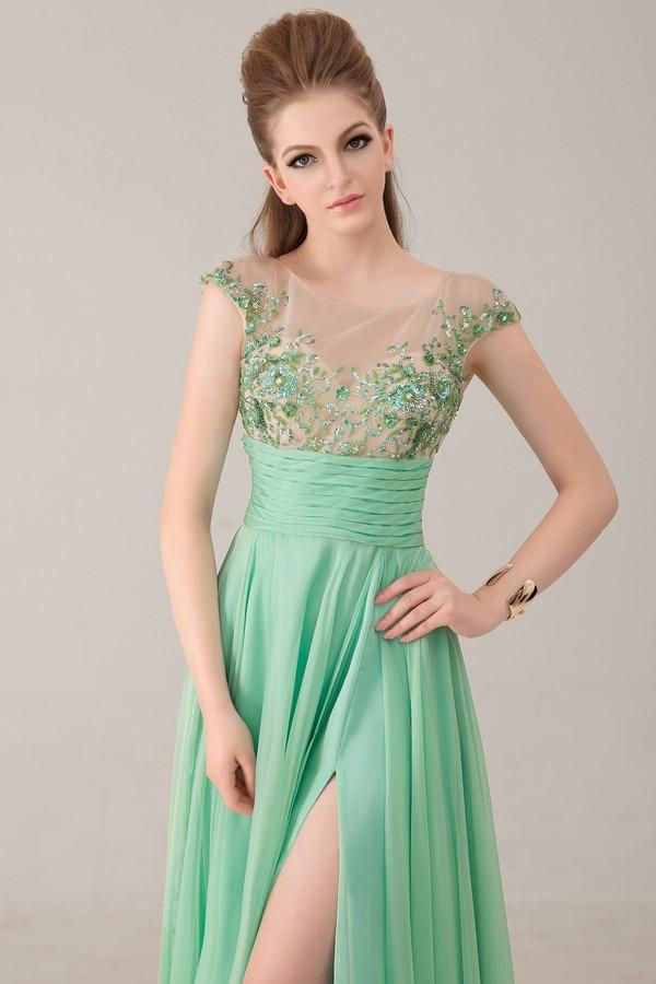 Handmade Mint Green Side Slit Floor Length Applique Cap Sleeve Cut out Back Chiffon See Through Corset Dresses 2018(SF L51)