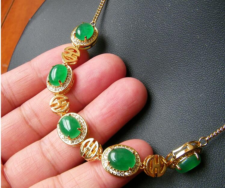 Necklace Gold Inlaid Jade natural jade chain item green bride gift    hot gold chain