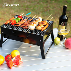 Kbxstart Stainless Steel Portable Grill Folding Charcoal Grill Camping Outdoor Travel Barbecue Tool Accessories Folding Cookware