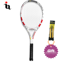 IANONI Raquetas De Tenis Profesionales Carbon Fiber Durable Reduce Vibration MID Surface Gift Grip Tape Red White Tennis Racket
