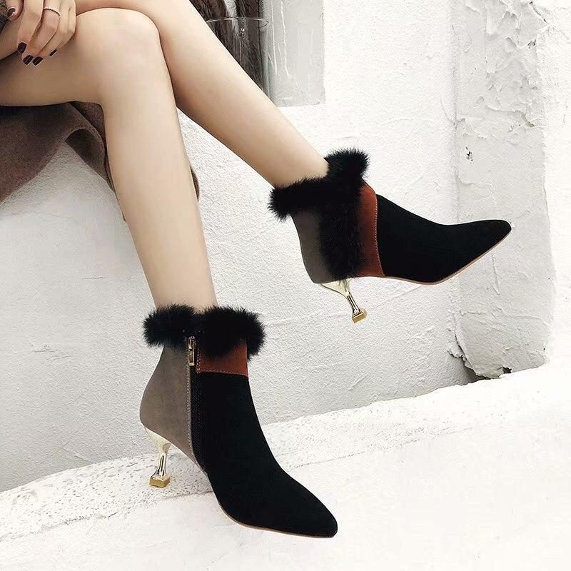 Tobillo Las Sexy Bien Mujer Pie Mujeres Caliente Beige G8 La Cuero Moda Puntiagudo De Del Invierno negro Tacón Con dedo Botas Zapatos XIdx4X