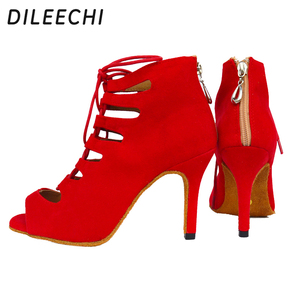 Image 2 - DILEECHI new arrival red blue black velvet heels Latin dance shoes womens Wedding party Salsa dancing shoes soft outsole 8.5cm