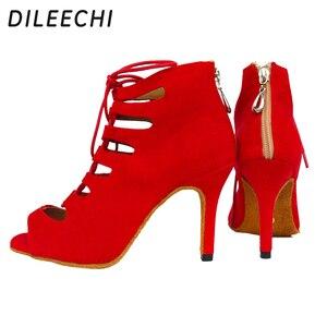 Image 2 - Dileechi新しい到着レッドブルーブラックベルベットかかとラテンダンスの靴女性のウェディングパーティーサルサダンスシューズ柔らかいアウトソール8.5センチ