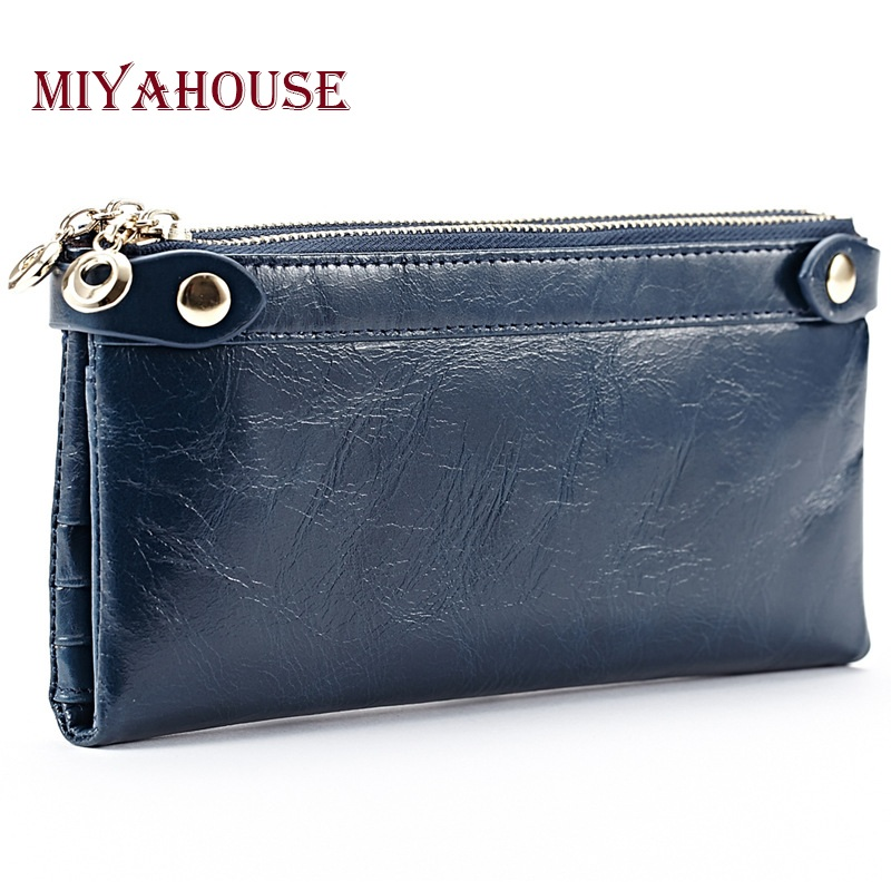 Miyahouse Women Long Wallet Genuine Leather Double Zipper Coin Purses For Female Clutch Bags Oil Wax Cowhide Card Holder Wallet 100% wax oil cowhide vintage wallets female money clips real leather clutch wallet for women credit cards change purses 2014 new