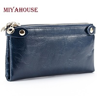 Miyahouse Women Long Wallet Genuine Leather Double Zipper Coin Purses For Female Clutch Bags Oil Wax Cowhide Card Holder Wallet
