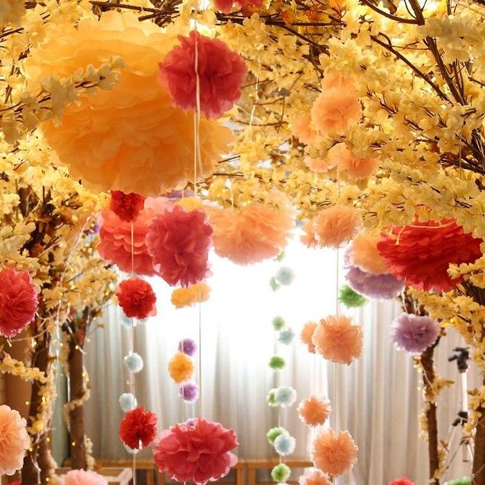 Govaz Свадебные украшения аксессуары для мероприятий 20 25 30 см Pom помпоны из бумаги салфеток мяч вечерние наборы; детский душ на день рождения