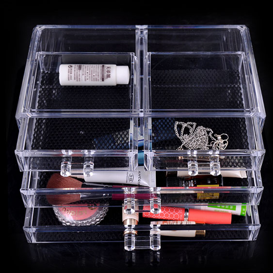 Transparent <font><b>acrylic</b></font> plastic box desktop jewelry <font><b>organizer</b></font> box small chest of <font><b>drawers</b></font> box image