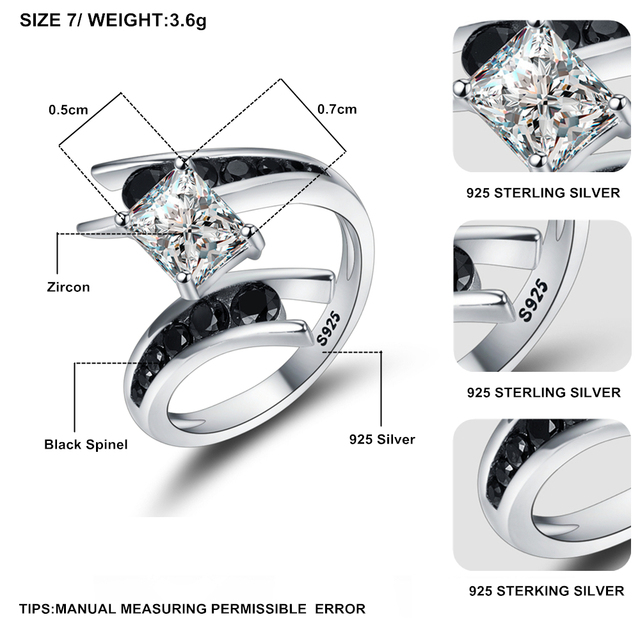 [BLACK AWN] Fine Jewelry 3.9 Gram 100% Genuine 925 Sterling Silver Row Black Stone Engagement Rings for Women Bague C299 5