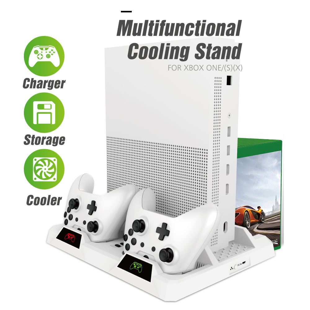 OIVO Dual Controller Charging Dock Station For Xbox ONE Cooling Vertical Stand Games Storage Charger for Xbox ONE S X Console