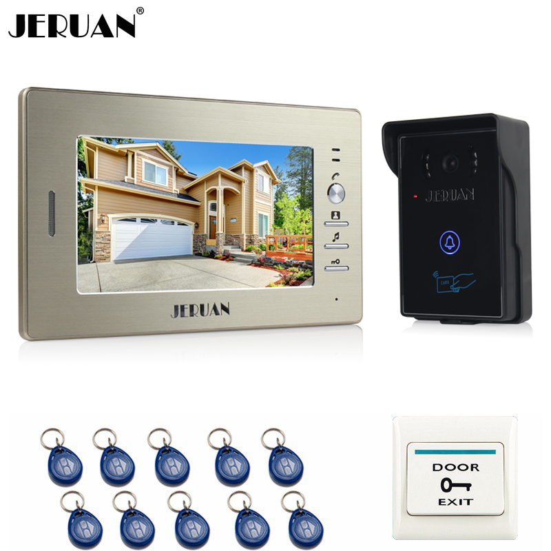 JERUAN Doorbell intercom system 7 inch Video door phone 1 monitor + RFID Access Waterproof Touch key IR Night Vision COMS Camera free shipping new 7 inch video intercom door phone system 1 monitor 1 rfid access doorbell waterproof camera inductive card