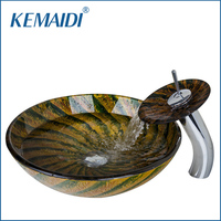 KEMAIDI Round Washbasin Lavatory Tempered Glass Sink Round Waterfall Basin Faucet 4347 1 Combine Brass Tap
