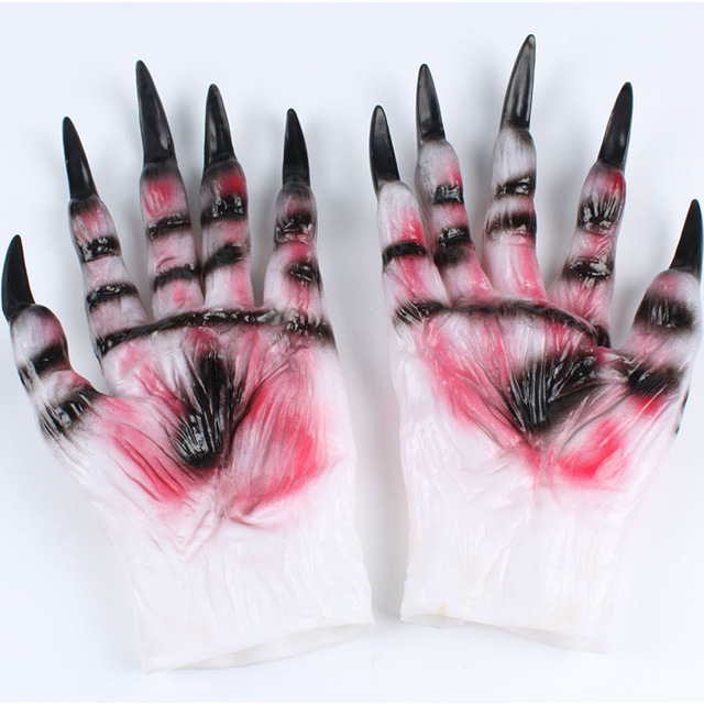 Halloween Horror Devil Silicone Rubber Masks Party Halloween Gloves Wolf Mask Wolf Gloves Halloween Scary Horror Toy