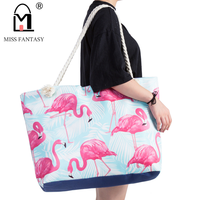 Women Bag Polyester Waterproof Handbag Summer Beach Flamingo Printed Large Size Tote Bags Travel Holiday