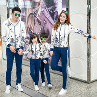 Spring Autumn Family Matching Outfits Dad Mom Son Girl set Sport Suit Hooded Hoodie+Long Pants Flower pattern Sweatshirt Clothes