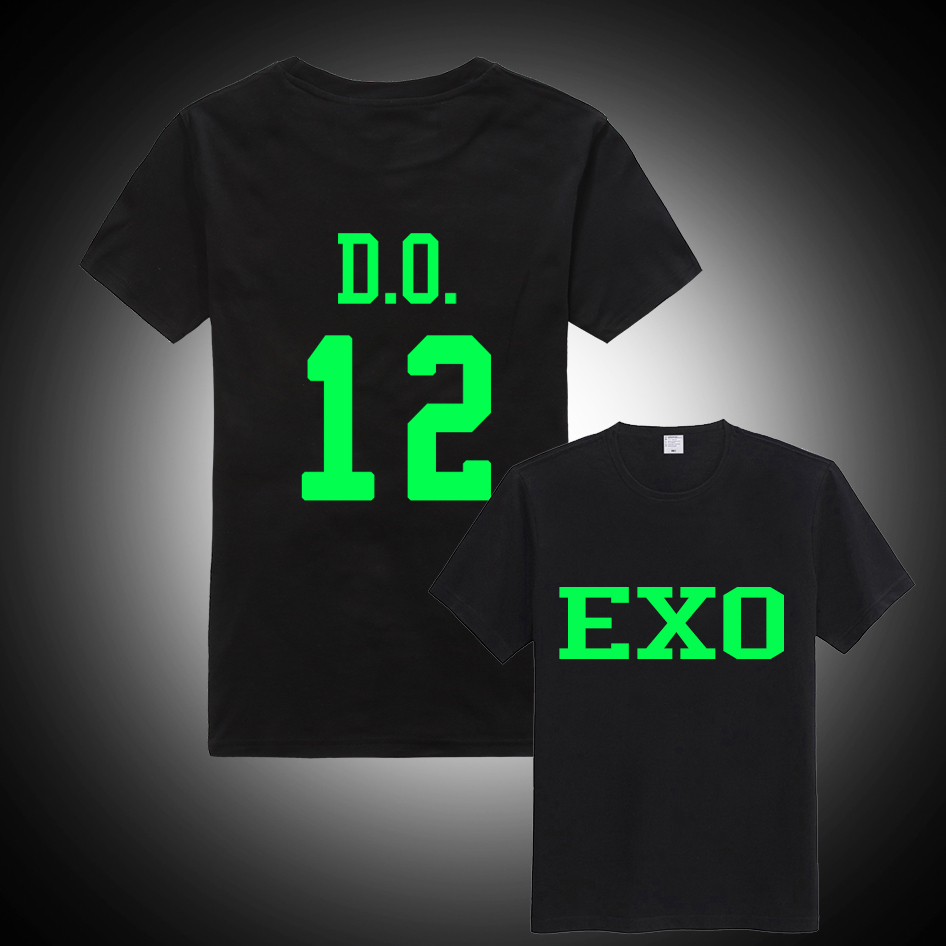 Black t shirt with neon letters - Kpop Exo Poisoning Overdose Logo Neon Luminous Black T Shirt Clothes Short
