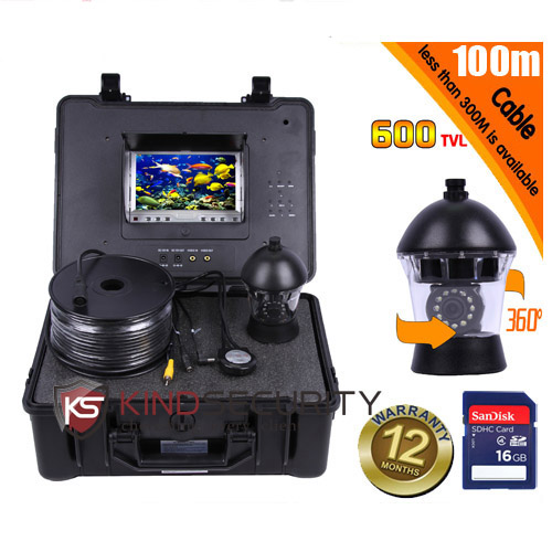 "100M DVR Underwater submarine camera 360 degree camera video fish camera cctv underwater camera CR110-7C with 7"" monitor"